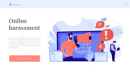 Target individual with laptop attacked online by user with megaphone. Internet shaming, online harassment, cyber crime action concept. Website vibrant violet landing web page template. Vecteurs