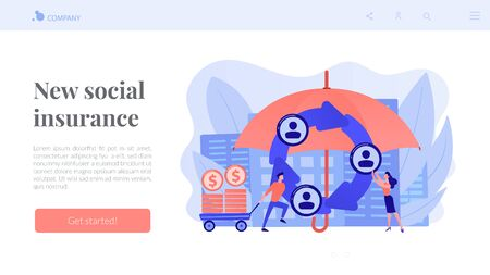 Individuals pool their premiums together to insure against a risk. Peer-to-Peer insurance, P2P collaborative risk, new social insurance concept. Website vibrant violet landing web page template. Ilustrace