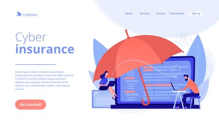 Business people work with laptops protected from internet-based risks. Cyber insurance, cyber-insurance market, cybercrime risk protection concept. Website vibrant violet landing web page template.