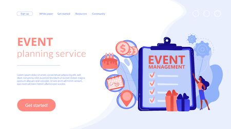 Manager with checklist creating event plan and development. Event management and planning service, how to plan an event, planning software concept. Website vibrant violet landing web page template.