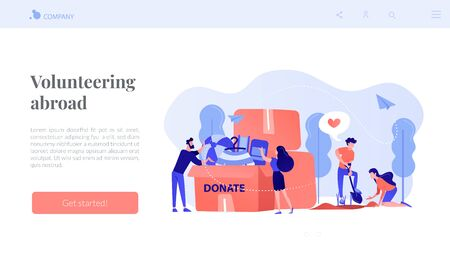 Volunteers like helping, planting seeds and donating clothes and toys into a box. Volunteering, volunteer services, altruistic job activity concept. Website vibrant violet landing web page template.
