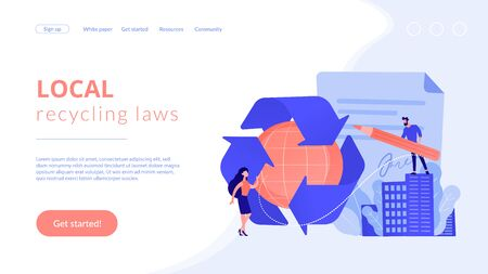 Specialists writing new mandatory recycling laws for country. Government mandated recycling, ecological regulations, local recycling laws concept. Website vibrant violet landing web page template. Illusztráció