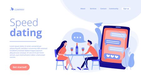 Man and woman using online dating app on smartphone and meeting at table, tiny people. Blind date, speed dating, online dating service concept. Website vibrant violet landing web page template. Vecteurs