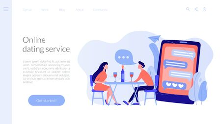 Man and woman using online dating app on smartphone and meeting at table, tiny people. Blind date, speed dating, online dating service concept. Website vibrant violet landing web page template.