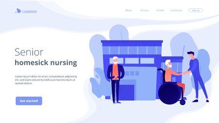 Caregiving, volunteering. Disabled patient support, hospital assistance. Elderly care, senior homesick nursing, elderly care services concept. Website homepage landing web page template.