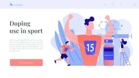 Nurse with syringe doing a doping injection to champion athlete, tiny people. Doping test, performance-enhancing drugs, doping use in sport concept. Website vibrant violet landing web page template. Illustration