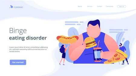 Overeating addiction concept landing page.