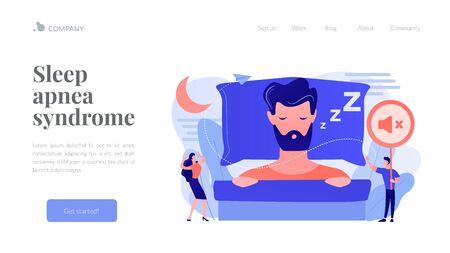 Night snoring concept landing page.