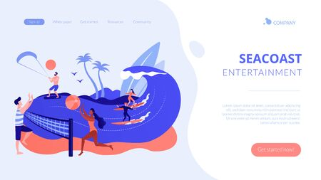Summer beach activities concept landing page.