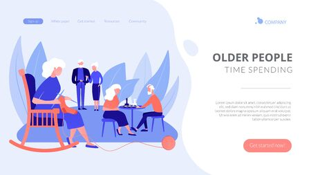 Pensioners pastime at senior home. Aged couple playing chess. Activities for seniors, elderly active lifestyle, older people time spending concept. Website homepage landing web page template.