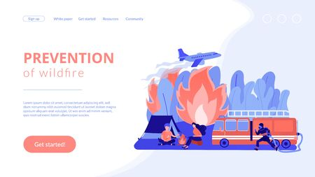 Prevention of wildfire concept landing page.