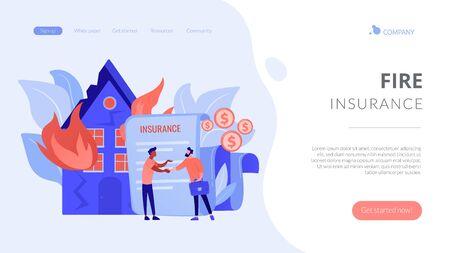 Fire insurance concept landing page. Ilustrace