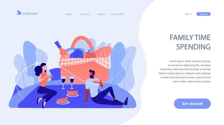 Summer picnic concept landing page. 向量圖像