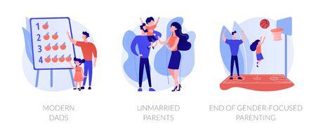 Gender and social equality parenthood metaphors. Modern dads, unmarried parents, end of gender-focused parenting. Fatherhood and motherhood abstract concept vector illustration set.