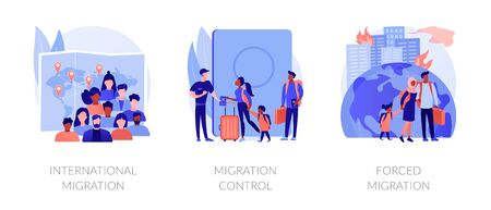 Population displacement, refugees abstract concept vector illustrations. Illustration