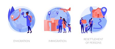 Population mobility, human migration metaphors. Emigration, immigration, people resettlement. Country borders legal and illegal crossing abstract concept vector illustration set.
