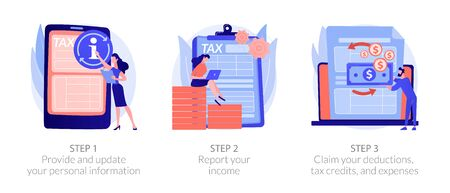 Tax accounting process. Provide and update your personal information, report your income, claim your deductions, tax credits, and expenses metaphors. Vector isolated concept metaphor illustrations 일러스트