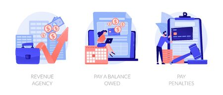 Tax payment stages vector concept metaphors. Ilustração