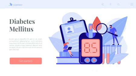 Doctor with magnifier and blood glucose testing meter. Diabetes mellitus, type 2 diabetes and insulin production concept on white background. Website vibrant violet landing web page template.