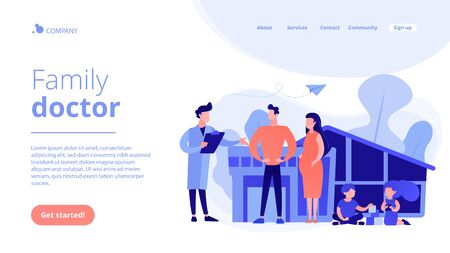 Family phisician with husband, pregnant wife and playing children. Family doctor, medical family practice, primary healthcare care concept. Website vibrant violet landing web page template.