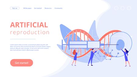 Artificial reproduction concept landing page. 向量圖像