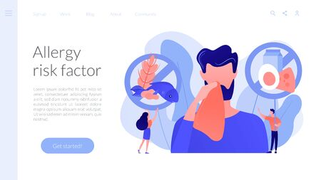 Man having food allergy symptoms to products like fish, milk and eggs. Food allergy, food alergen ingredient, allergy risk factor concept. Website vibrant violet landing web page template. 免版税图像 - 145176552