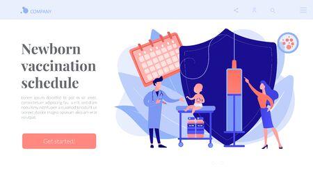 Infant and child vaccination concept landing page. Ilustração