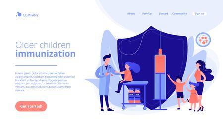 Vaccination of preteens and teens concept landing page. Ilustração