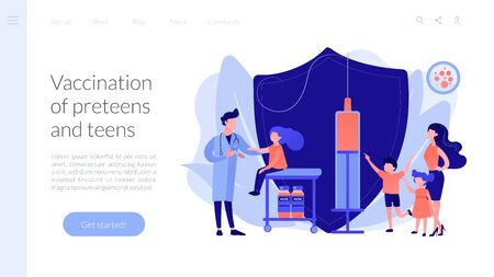 Vaccination of preteens and teens concept landing page. Illustration