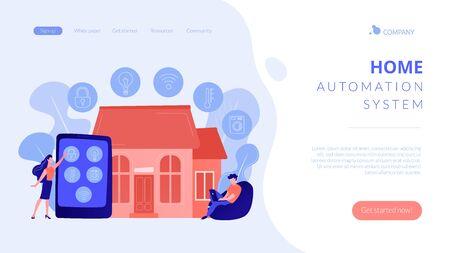 Smart home concept landing page. 矢量图像