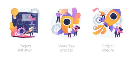 Project implementation abstract concept vector illustration set. Project initiation and closure, workflow process, business analysis, vision and scope, management software, deadline abstract metaphor. Иллюстрация
