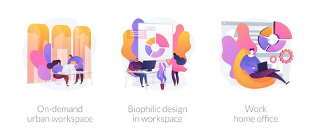 Workplace organization abstract concept vector illustration set. On-demand urban workspace, biophilic design, work home office, coworking, client meeting room, distance work abstract metaphor. Vectores