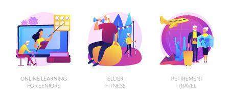 Elder people activities vector concept metaphors.