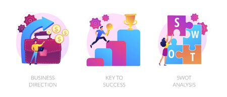Profit growth, career success achievement, strengths and weaknesses assessment icons set. Business direction, key to success, swot analysis metaphors. Vector isolated concept metaphor illustrations Vecteurs
