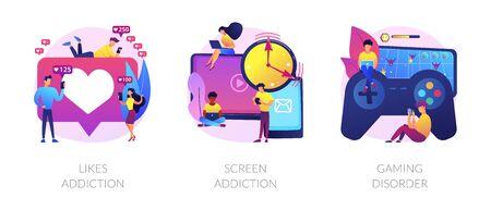 Technology addiction vector concept metaphor.