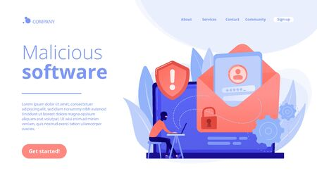 Malware computer virus concept landing page.