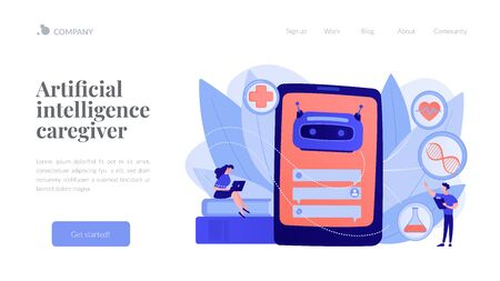 Medical chatbot gives healthcare consultation to patient. Chatbot healthcare use, artificial intelligence caregiver, anonymous consultation concept. Website vibrant violet landing web page template.
