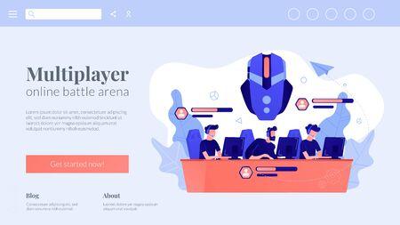 Multiplayer online battle arena concept landing page.