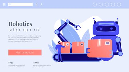 Labor substitution concept landing page.