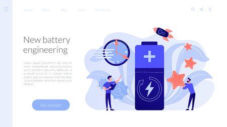 Fast charging technology concept landing page. Vektorové ilustrace