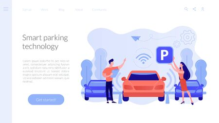 Self-parking car system concept landing page.