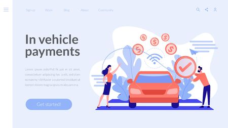In vehicle payments concept landing page.