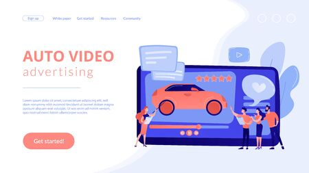 Car review video concept landing page.