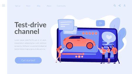 Car review video concept landing page.