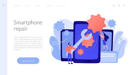 Smartphone repair concept landing page.