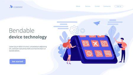 Bendable device technology concept landing page. Çizim