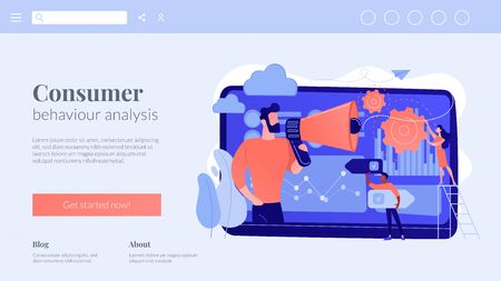 Data driven marketing concept landing page.