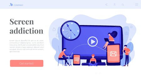 Screen addiction concept landing page.