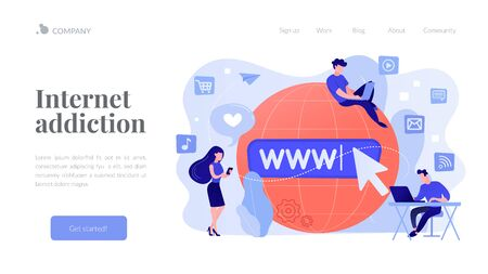 Internet addiction concept landing page.