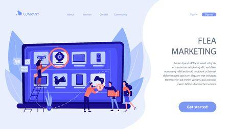 Online flea market concept landing page. Ilustración de vector